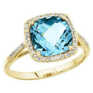 / White Gold 0.02 ct. Diamond and 8 MM Cushion Cut Blue Topaz Ring