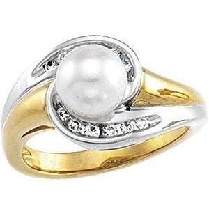 Pearl & Diamond Ring set in 14 karat Yellow & White Gold(5.5) Jewelry