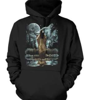 , American Indian Princess Wolf Design Pullover Hoodie Clothing