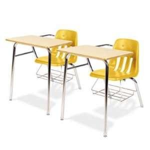 9400 Classic Series Chair Desks, Squash, Fusion Maple