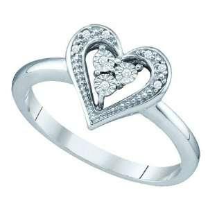 WHITE GOLD 0.02CTW DIAMOND HEART RING Size 7 Jewelry