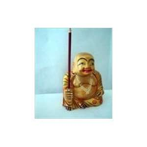 Wooden Handcrafted Laughing Buddha Incense Holder