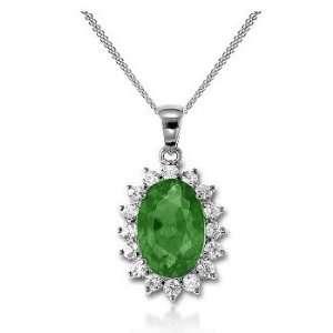 1.93Ct Oval Cut Emerald & VS Diamond Pendant 14K Gold Jewelry