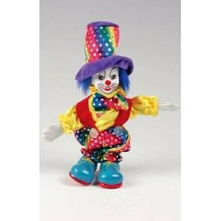 Clown Figurine   Rainbow Colored, Hand Painted, Posable, Porcelain, 7
