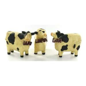 Cow Set of 3 Live Laugh Love Statues Figurines Home & Kitchen
