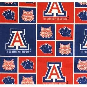 Collegiate Fleece Allover Prints   Arizona Wildcats Fabric By The Yard