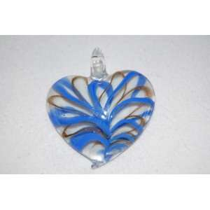 Brand new Murano Style Glass Pendant Necklace Heart