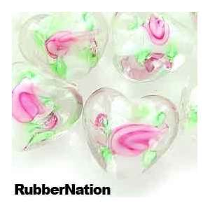 Encased Roses Glass Beads Hearts 15mm WHITE 10pc Pink
