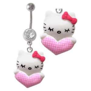 Clear Cz Hello Kitty Pink Plaid Heart 3d dangle Belly