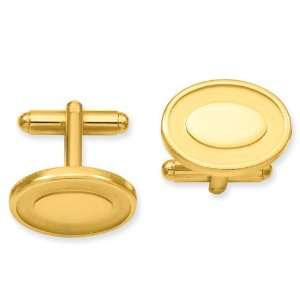 Gold plated Oval with Engraveable Area Cuff Links Jewelry
