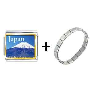 Gold Plated Travel  Mt Fuji Photo Italian Charms Pugster Jewelry