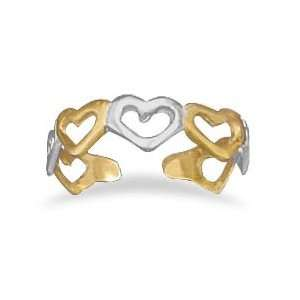 Sterling Silver Gold Plated Toe Ring with Alternating