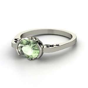 Passementerie Ring, Oval Green Amethyst Platinum Ring Jewelry