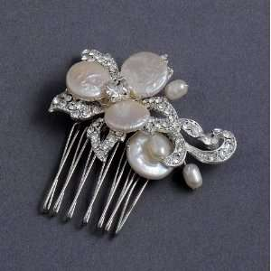 Bridal Side Comb Vintage Rhinestones Flower & Freshwater