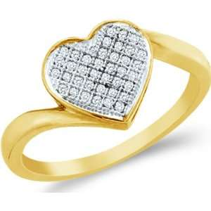 10k White and Yellow Two 2 Tone Gold Love Heart Shape Center