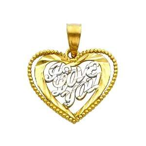Love You Heart Charm Pendant The World Jewelry Center Jewelry