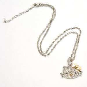 Hello Kitty Head Shaped Pendant Charm Metal Necklace Chain w