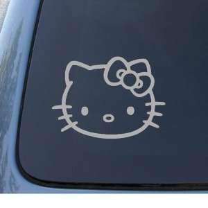 HELLO KITTY FACE   5.5 SILVER Decal   Cat Feline   Car, Truck