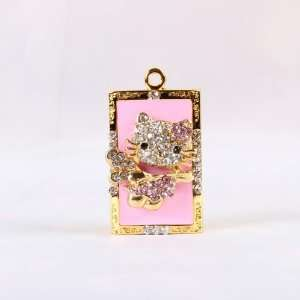 Hello Kitty Crystal Jewelry USB Flash Memory Drive Necklace  Pink