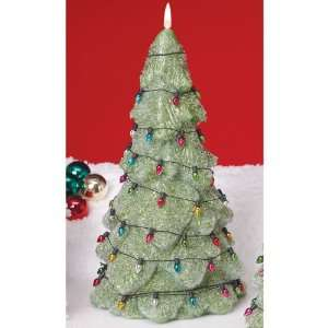 Green Sparkling Christmas Tree Candles 9   Unscented
