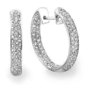 14k White Gold Round Diamond Pave Huggie Hoop Earrings (3.31 cttw, G H