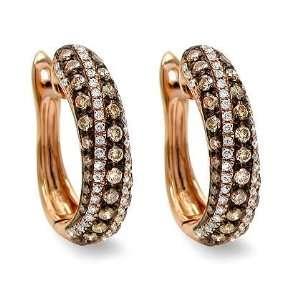Brown Round Diamond Hoop Huggie Earrings 18k Rose Pink Gold Jewelry