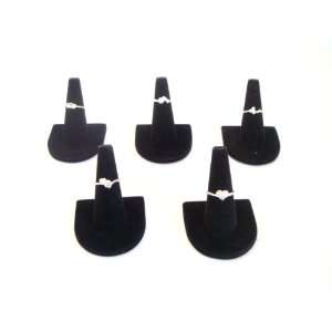 Black Velvet Ring Finger Jewelry Holder Showcase Display Stands