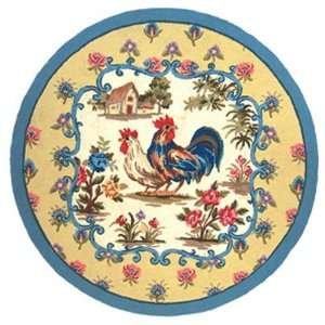 Rooster Petit Point Hooked Rug 120L   100 Percent Wool