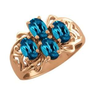 2.20 Ct Oval London Blue Topaz 14k Rose Gold Ring Jewelry
