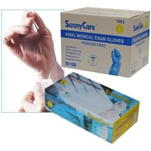 Sunnycare #7603 Vinyl Medical Exam Gloves Powder Free Size