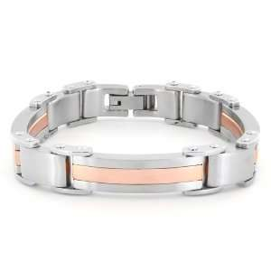 Stainless Steel Gold Plated Brushed Finished Mens Bracelet