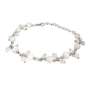 Crystal Glass Beads Ball White Pearl Bell Charm Bracelet/Anklet
