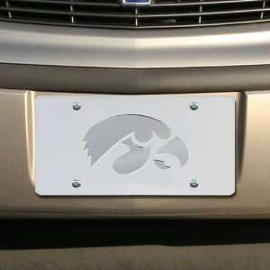 NCAA Iowa Hawkeyes Satin Mirrored Team Logo License Plate: Automotive