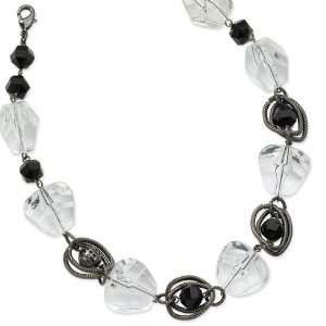 Faceted Jet Clear Crystal Beaded 16in Necklace/Mixed Metal Jewelry