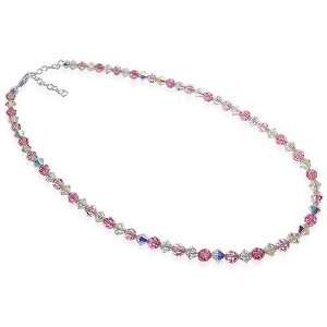 Sterling Silver Pink and Clear Crystal Necklace 14 inch