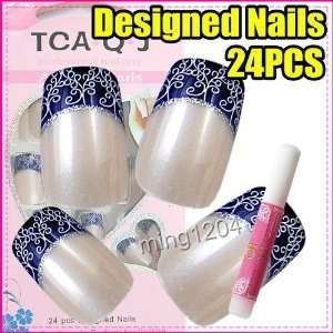 24 Blue Ceramics Designed Nail Art Tip + Glue 226