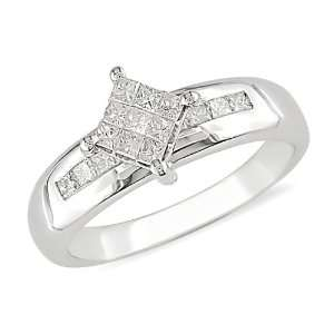 1/2 ct.t.w. Princess Cut Diamond Ring in 10k White Gold