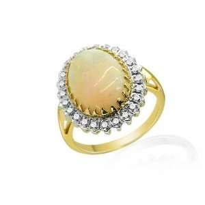 9ct Yellow Gold Opal & Diamond Cocktail Ring Size 8 Jewelry