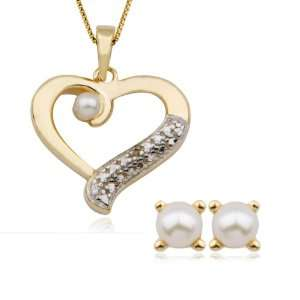 Pearl and Diamond Accent Heart Pendant, 18 and Earring Set Jewelry
