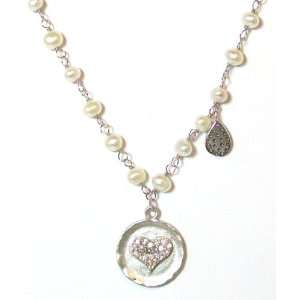 Sterling Silver Cubic Zirconia Heart Charm Pearl Necklace Jewelry