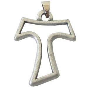 Tau cross   Pewter (3.5cm or 1.4) Rosary/Pendant: Arts