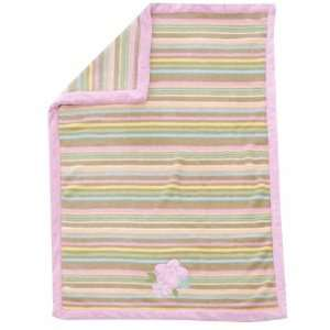 Baby Girl Boa Blanket ~ Pink Stripe with Flowers Baby