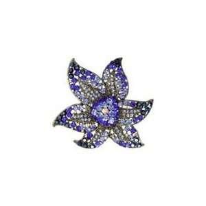 Blue Swarovski Crystal Starfish Brooch