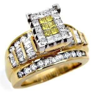 Canary Yellow Princess Cut Diamond Engagement Ring 14k Yellow Gold (6