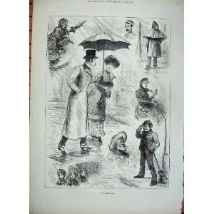 1882 Rain Umbrella Man Woman Romance Policeman Boy Home