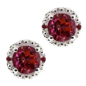 Round Red Rhodolite Garnet Gemstone Argentium Silver Earrings Jewelry