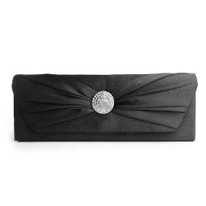 Black Satin Evening Bag with Rhinestone Button