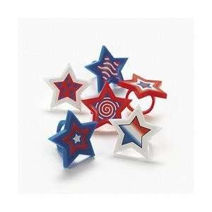 Patriotic Star Rings (2 dozen)   Bulk Toys & Games