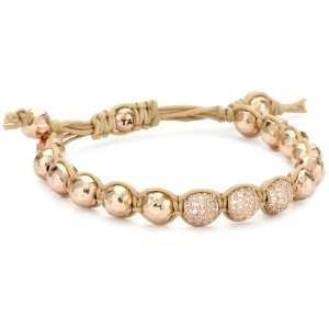 Tai Rose Gold Ball with Crystal Ball on Beige Cord Bracelet Jewelry