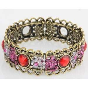 EXOTIC Vintage Style TIBETAN SILVER CUFF WITH RED CRYSTAL GIFT BANGLE
